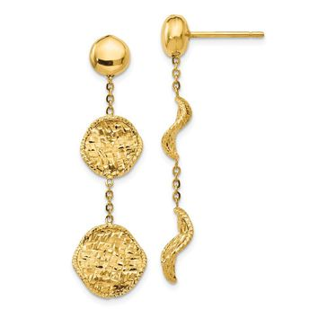 14k Yellow Gold Textured Post Drop Earrings