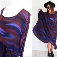 Vintage L/XL batik pleated wrinkle oversized babydoll ethnic hippie boho bohemian purple violet tie dye  maxi dress