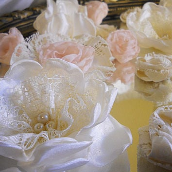 "36 Ivory and Pale Pink Flowers for weddings, bouquet making, wedding decor, cake toppers, gifts, crafts ""Ready to Ship"""