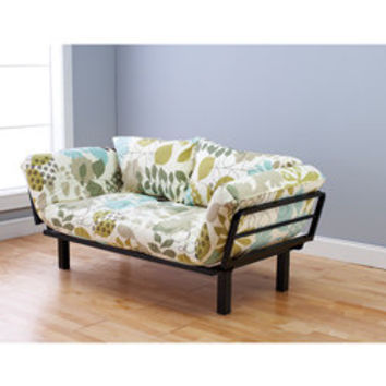 Eli Spacely Multi-Flex Daybed Lounger in Black Metal and Leaf White-Green Fabric and Pilllows Set | Overstock.com