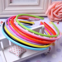 5 Pcs 4mm  Candy Colors Hair Bands Girl's Flat Headband Hairband Plastic Craft Plastic  Hairpins