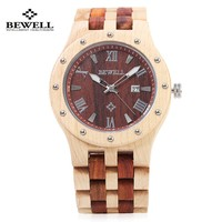 BEWELL 3Bar Water Resistant Wooden Watch