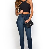 Regina Blue Denim High Waist Super Skinny Jeans
