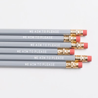 WE AIM to PLEASE pencils. Gray & white imprinted pencils.  Choose from two sayings.  Quotes from 50 Shades of Grey.
