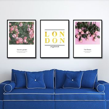 Full of Love Ross Canvas Paintings London Flowers Golden Text Abstract Poster Nordic Wall Art Picture Living Room Home Decor