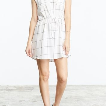 Women's BB Dakota Janis White Plaid Tie Waist Dress
