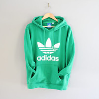 Adidas Hoodie Trefoil Big Logo Green Fleece Lining Cotton Sweatshirt Baggy Slouchy Pullover Vintage Minimalist 90s Sweater Size M - L