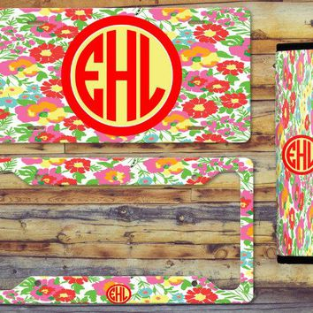 Bundle Up and Save! License Plate, Lilly Inspired License, Frame and Seat Belt Pad Bundle! Tons of Patterns