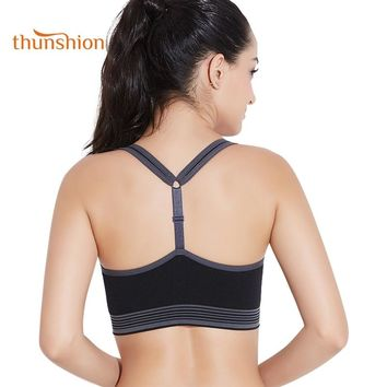 THUNSHION 2018 Absorb Sweat Quick Dry Sexy Sports Bra Women Running Fitness Yoga High Impact Top Crop Vest Underwear Gym Clothes