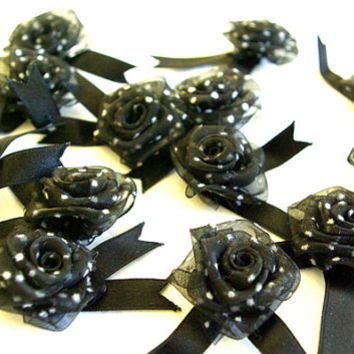 Black Organza Roses with White Polka Dots(12 Pkt) 4cm wide Embellishments Crafts