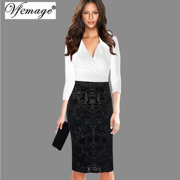 Vfemage Women Elegant Vintage Velvet Hight Waist Knee-Length Casual Wear To Work Business Party Sheath Bodycon Pencil Skirt 8365