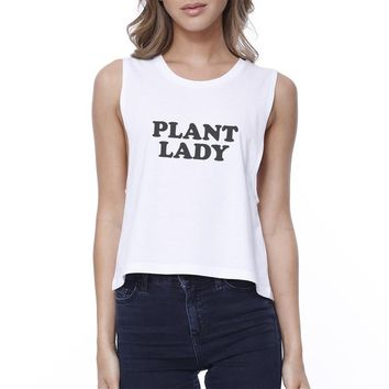 Plant Lady Women's White Cotton Crop Tee Unique Graphic Crew Neck