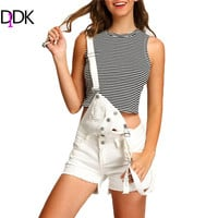 DIDK All White Women Jumpsuits and Rompers Sleeveless Womens Summer Outfits 2016 Strap Ripped Buttons Denim Jumpsuit