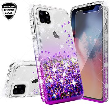 Apple iPhone 11 Case Liquid Glitter Phone Case Waterfall Floating Quicksand Bling Sparkle Cute Protective Girls Women Cover for iPhone 11 W/Temper Glass - Purple