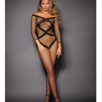 Fishnet Body Stocking w/Open Crotch & Cut Out Back Black