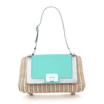 Tiffany & Co. -  Devin frame bag in wicker with Tiffany Blue® and platinum leather trim.