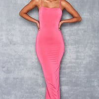 'Dainty Doll' Hot PInk Silky Jersey Maxi Dress - Mistress Rocks