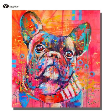 CHENFART Oil Painting Canvas Art Classical Dog Animal Wall Pictures for Living Room Bedroom Posters and Prints Unframed Wall Art