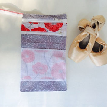 2 Pocket Pointe Shoe Bag Poppy  -ballet shoe bag, dance bag, ballet bag, dancer gift, travel bag, ballerina gift, toy bag, stocking stuffer