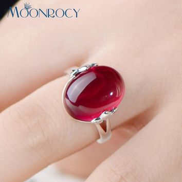 MOONROCY Silver Color Vintage Pink Red Green Crystal Opal Promise Wedding Engagement Ring for Women Girls Gift Drop Shipping