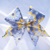 Cheer bow- All fabric Sewn Gray with Yellow flowers,Cheerleading bow-Cheerleader bow- dance bow- softball bow- cheerbow
