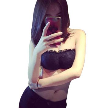 Fashion Women Lace Strapless Tube Top Cross Sexy Bra Crop Tops Blusa De Renda Padded Seamless Tube Bra Bralette Bandeau Top F15