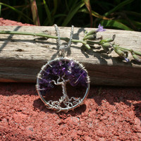 Tree Of Life Necklace Amethyst Pendant On Silver Chain Wire Wrapped Purple Semi Precious Gemstone Jewelry February Birthstone Jewelry