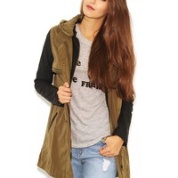 West Coast Wardrobe  Commander in Chic Faux Leather Sleeve Military Jacket in Khaki