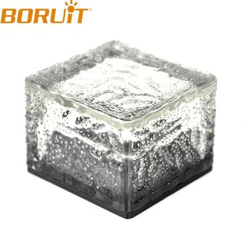 Solar Powered Waterproof Rechargeable Crystal Glass Ice Brick LED Light Outdoor Landscape Garden Yard Path Lawn Solar Lamp