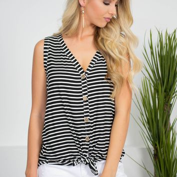 Dolly Striped Button-Up Top | Black