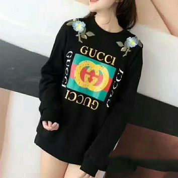 DCCKN6V GUCCI : flower rose print sweater hoodie pullover Black G-AGG-CZDL