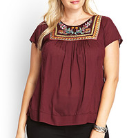 FOREVER 21 PLUS Embroidered Peasant Top Burgundy/Gold