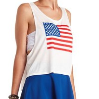 American Flag Graphic Muscle Tee by Charlotte Russe - White