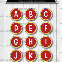 ABC Printable Cupcake Toppers, Party Supplies, Preschool, Alphabet, A to Z, Favors,Tags,Diy, School,Birthday, Letters, Kid, INSTANT DOWNLOAD