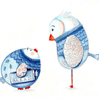 Tangerine and blue Forward thinking fledgling A4 print of my illustration
