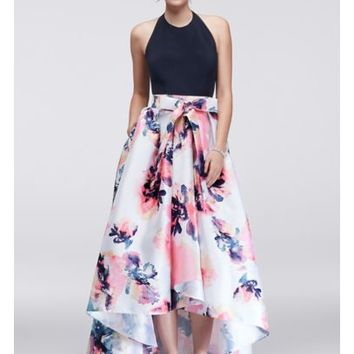 High-Low Halter Dress with Printed Skirt - Davids Bridal