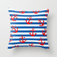 Anchors Aweigh! Throw Pillow by Taylor Payne
