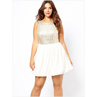 Paillette Backless Temperament Sexy  Plus Size Dress LAVELIQ