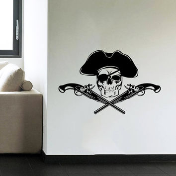Wall Decal Vinyl Sticker Decals Art Home Decor Mural Pirate Skull Crossed Pistols Children Kids Boys Room Fashion Bedroom Dorm AN522