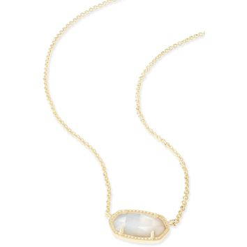 Kendra Scott : Elisa Gold Pendant Necklace in Ivory Mother Of Pearl