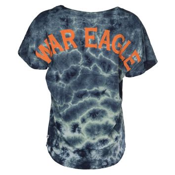 Official NCAA Auburn University Tigers Aubie Tiger WAR EAGLE! Women's Crystal Washed Tie Dye Short Sleeve Spirit Wear Jersey T-Shirt