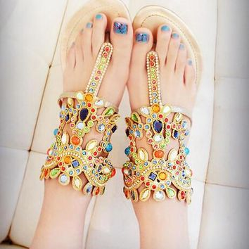 Fashion jewels leather sandals