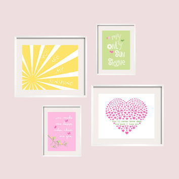 You Are My Sunshine Prints in yellow pink and green for Addison Bedding by Pottery Barn 8x10 and 5x7 FREE SHIPPING