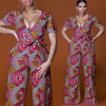 Plus size 2018 Summer Wide Leg Pant Women Rompers Jumpsuits African Print Clothing Casual Sexy Deep V neck tunic party overalls