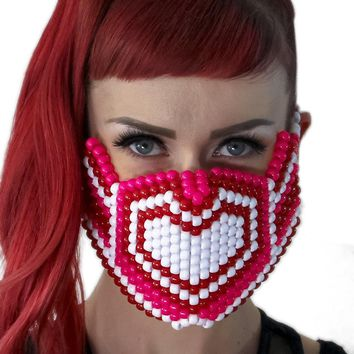 Pink and White Hearts Kandi Mask