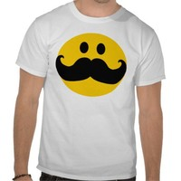 Mustache Smiley (Customizable background color) Shirt from Zazzle.com
