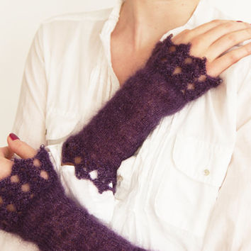 Deep Purple Silk and Mohair Wrist Warmers