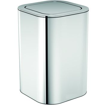 Neli Square Polished Chrome Wastebasket Trash Can W/ Swing Lid Bin