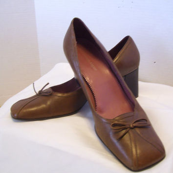 Additional 30% OFF Etienne Aigner High Heels Shoes Pumps  Size 9/10  Genuine Leather  Brown Taupe Tan