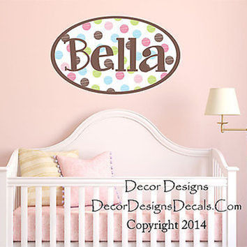 Polka Dot Custom Name Printed Fabric Removable Vinyl Wall Art Decal Sticker